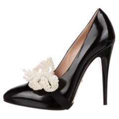 New Gucci Black Leather & Pearl Pumps Heels With Box Sz 36 $1855 Spring 2017