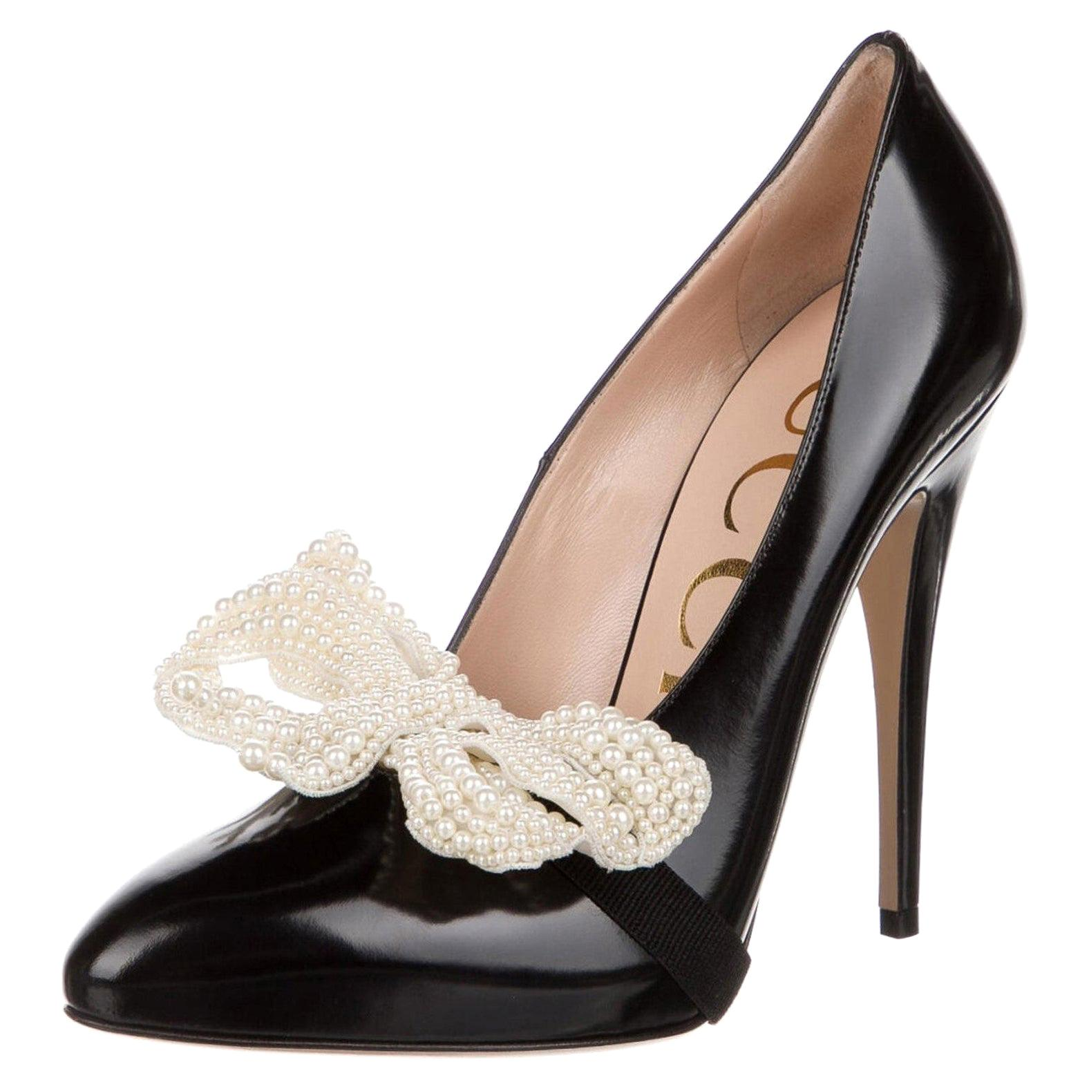 New Gucci Black Leather & Pearl Pumps Heels With Box Sz 37.5 $1855 Spring 2017