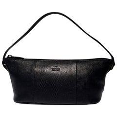 New Gucci Black Lizard Baguette Bag Purse
