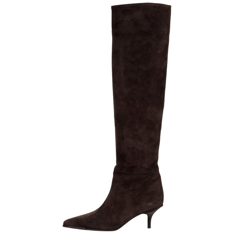 NEW Gucci Black Suede Skin Leather Knee High Boots For Sale