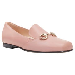 new GUCCI blush pink leather gold horsebit round toe flat loafer shoes EU36