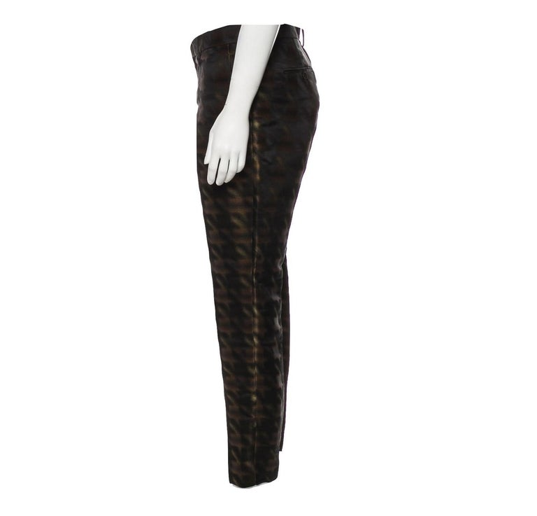 New Rare Gucci Brown & Black Silk Abstract Runway Pants F/W 2013 Sz 42  For Sale 1