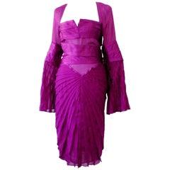 NEW Gucci by Tom Ford FW 2004 Purple Silk Asymmetric Dress