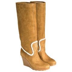 New Gucci Camel Lambskin Shearling Wedge Boots Sz 8.5