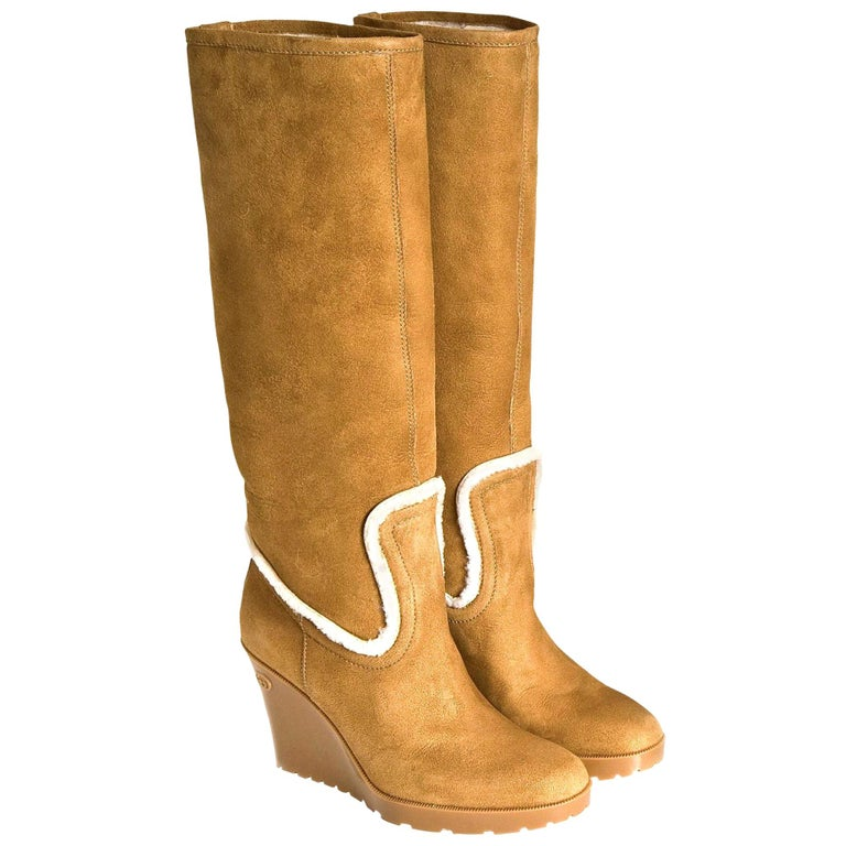 New Gucci Camel Lambskin Shearling Wedge Boots Sz 8.5 For Sale
