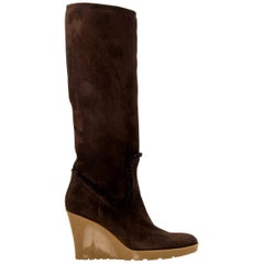 New Gucci Chocolate Brown Shearling Wedge Boots Sz 7