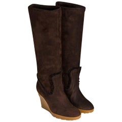 New Gucci Chocolate Brown Shearling Wedge Boots Sz 8