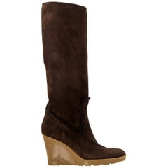 New Gucci Chocolate Brown Shearling Wedge Boots Sz 8.5