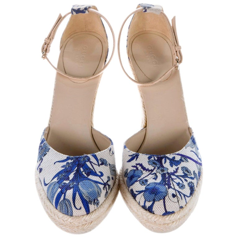 New Gucci Cruise 2007 Runway Flora Wedge Espadrille Heels Sz 7.5 For Sale