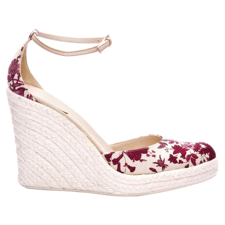 New Gucci Cruise 2007 Runway Flora Wedge Espadrille Heels Sz 8 For Sale