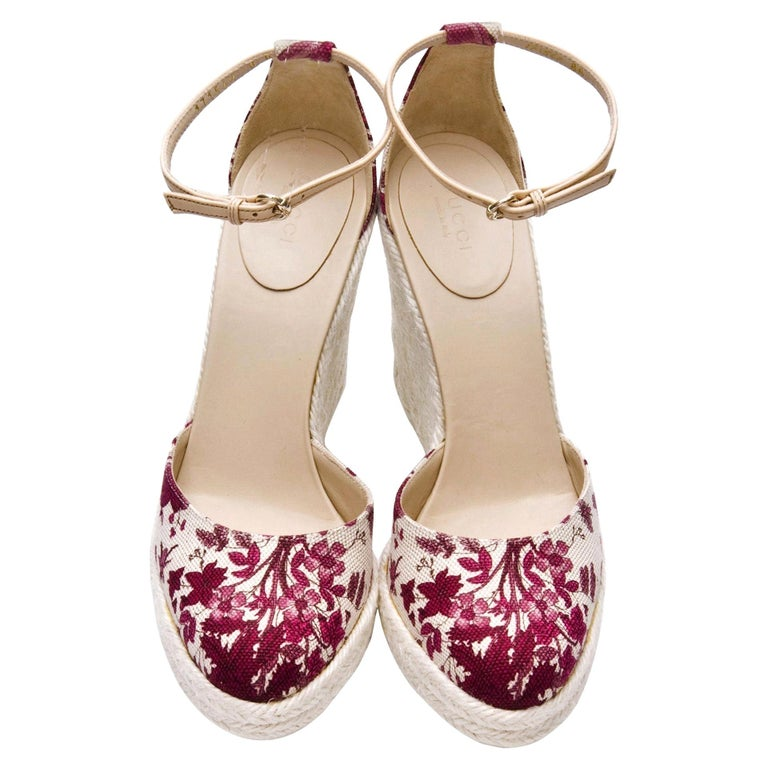 New Gucci Cruise New 2007 Runway Flora Wedge Espadrille Heels Sz 8.5 For Sale