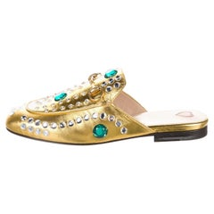 New Gucci Disco Princetown Gold Jeweled Loafers Slides Flats Sz 36