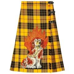 NEW Gucci Embroidered Tartan Wool Skirt IT40 US 4-6