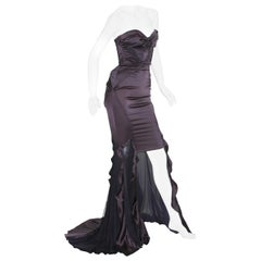 New Gucci F/W 2005 Silk High-Low Cut-Out Gunmetal Brown Black Net Dress Gown 40