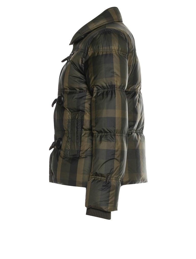 Black New Gucci F/W 2013 Green Plaid Down Coat Jacket Sz 40 For Sale