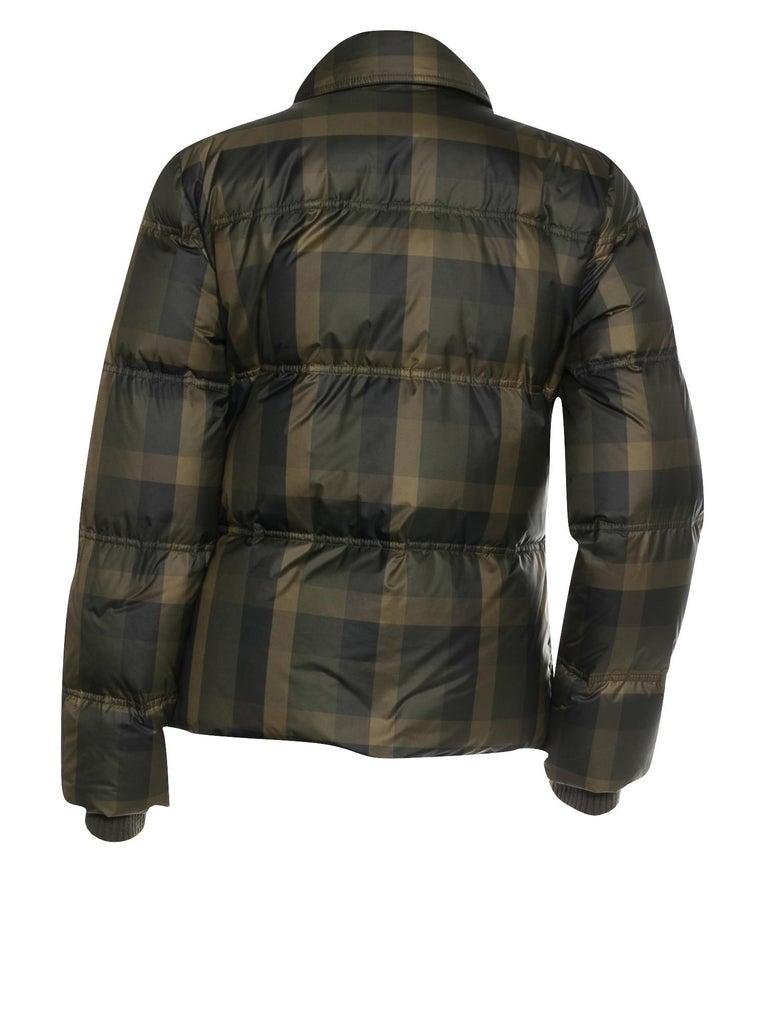 Women's New Gucci F/W 2013 Green Plaid Down Coat Jacket Sz 40 For Sale