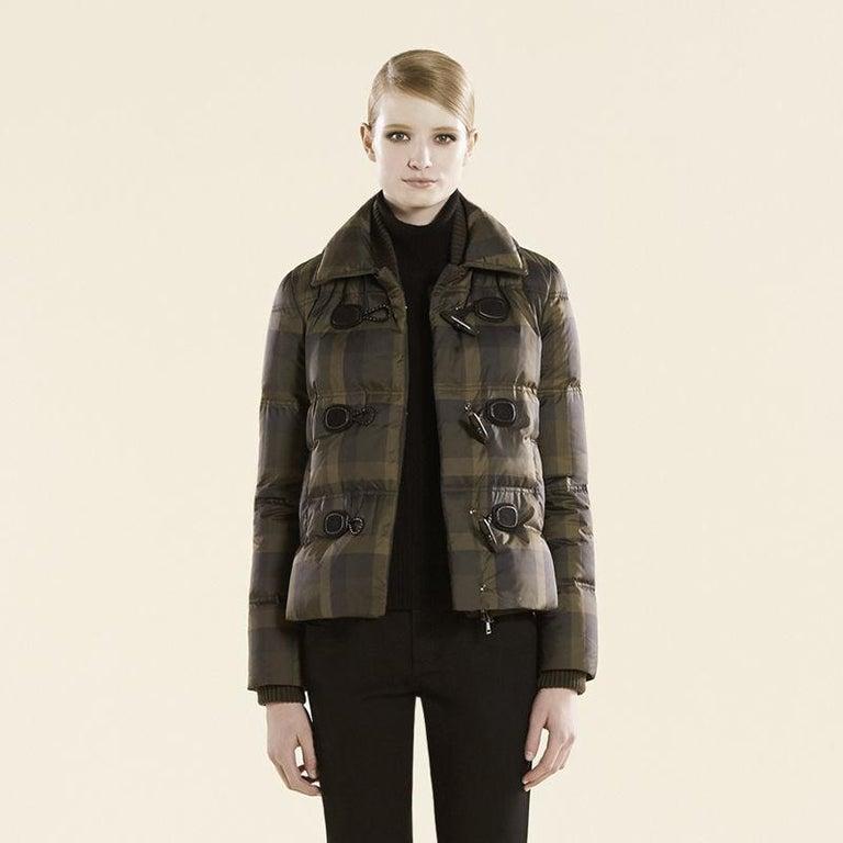 New Gucci F/W 2013 Green Plaid Down Coat Jacket Sz 40 For Sale 1