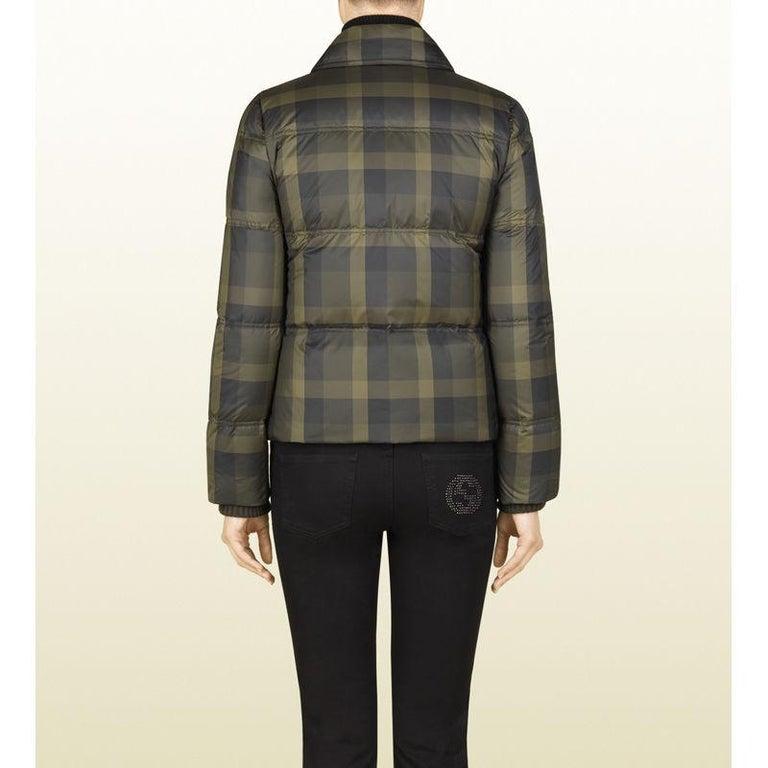 New Gucci F/W 2013 Green Plaid Down Coat Jacket Sz 40 For Sale 2
