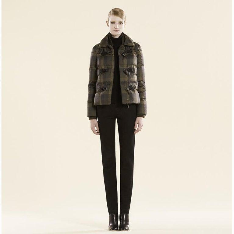 New Gucci F/W 2013 Green Plaid Down Coat Jacket Sz 40 For Sale 3