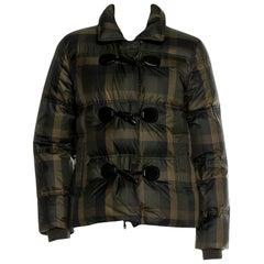 New Gucci F/W 2013 Green Plaid Down Coat Jacket Sz 40