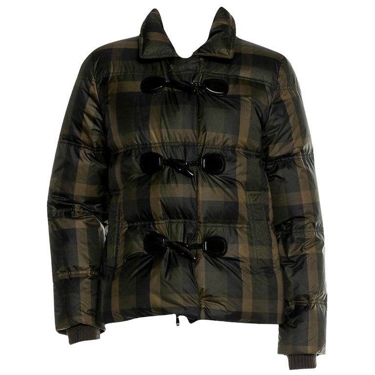 New Gucci F/W 2013 Green Plaid Down Coat Jacket Sz 40 For Sale