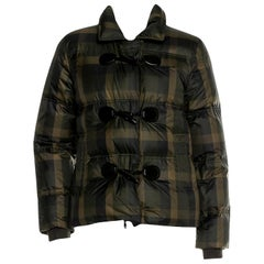 New Gucci F/W 2013 Green Plaid Down Coat Jacket Sz 40