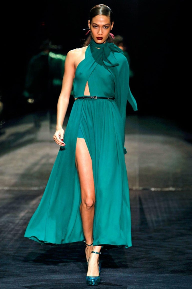 Gucci  Brand New From Gucci's 90th anniversary Fall Runway show, Frida Giannini cited her influence was Anjelica Huston $2425 * Python Heels * Rare Ad Runway Heels  * Size: 37 * Green Teal Turquoise Snakeskin Python Throughout * Adjustable Ankle