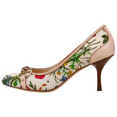 New Gucci Flora Bamboo Runway Pumps Heels Sz 10