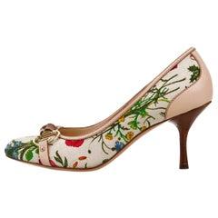 New Gucci Flora Bamboo Runway Pumps Heels Sz 6.5