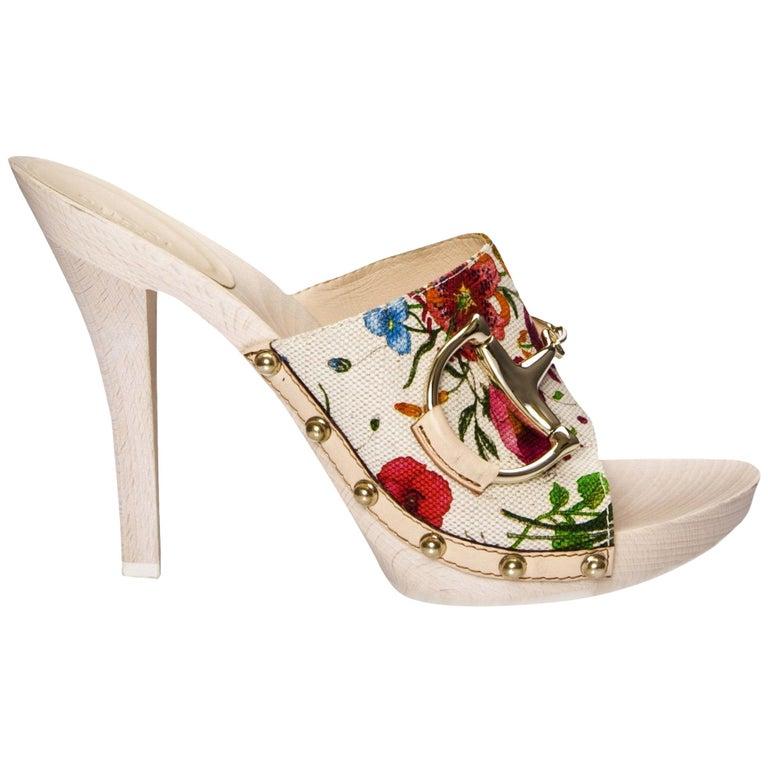 New Gucci Flora Horsebit Mules Heels Pumps Floral Sz 39 For Sale