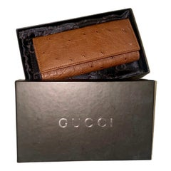 NEW Gucci Full Brown Exotic Ostrich Skin Key Case Wallet - Full Set