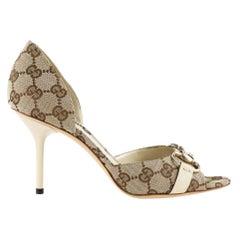 New Gucci GG Canvas Hollywood Horsebit D'Orsay Peep Toe Heels Shoes 10.5 B