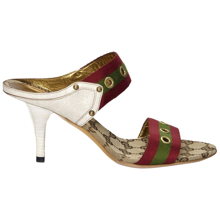New Gucci GG Logo Web Mules Heels Sz 37 For Sale