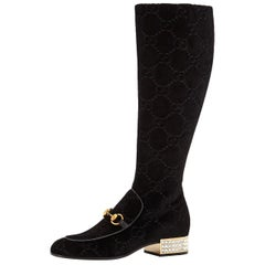 New Gucci GG Velvet Crystal Boots With Box Sz 38