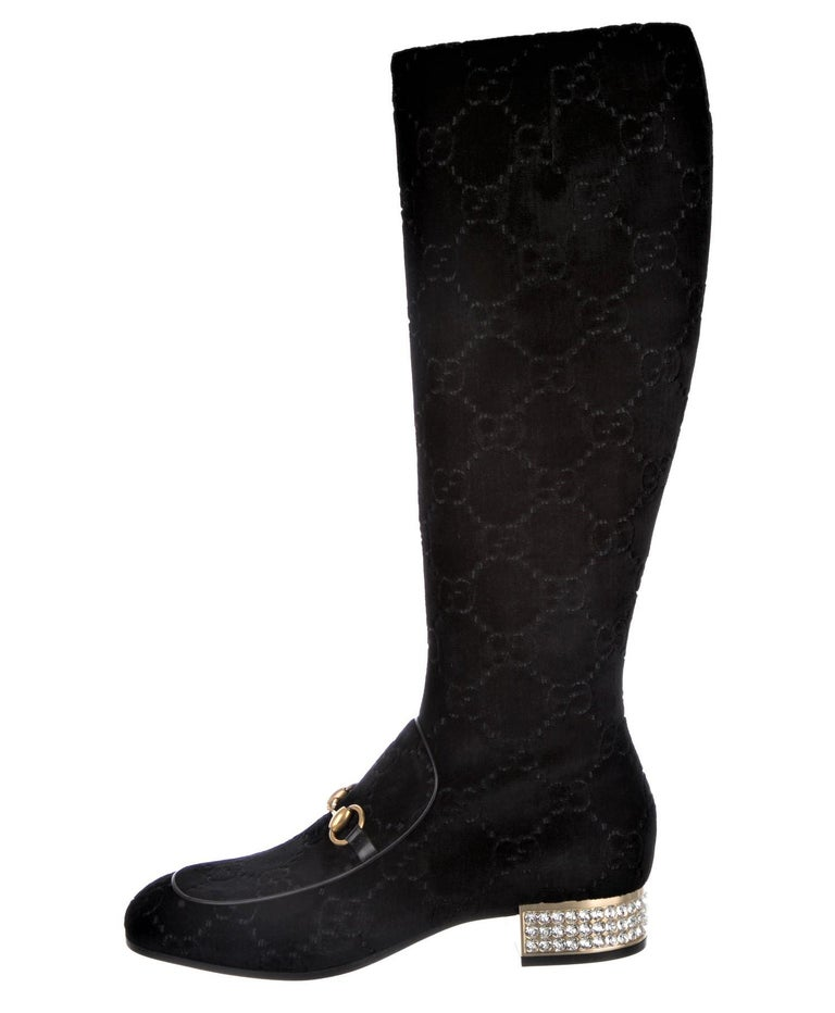 Gucci Brand New with Box * Black GG Velvet Boots * Gold Horsebit Accent * Crystal Heels * Size: 39.5