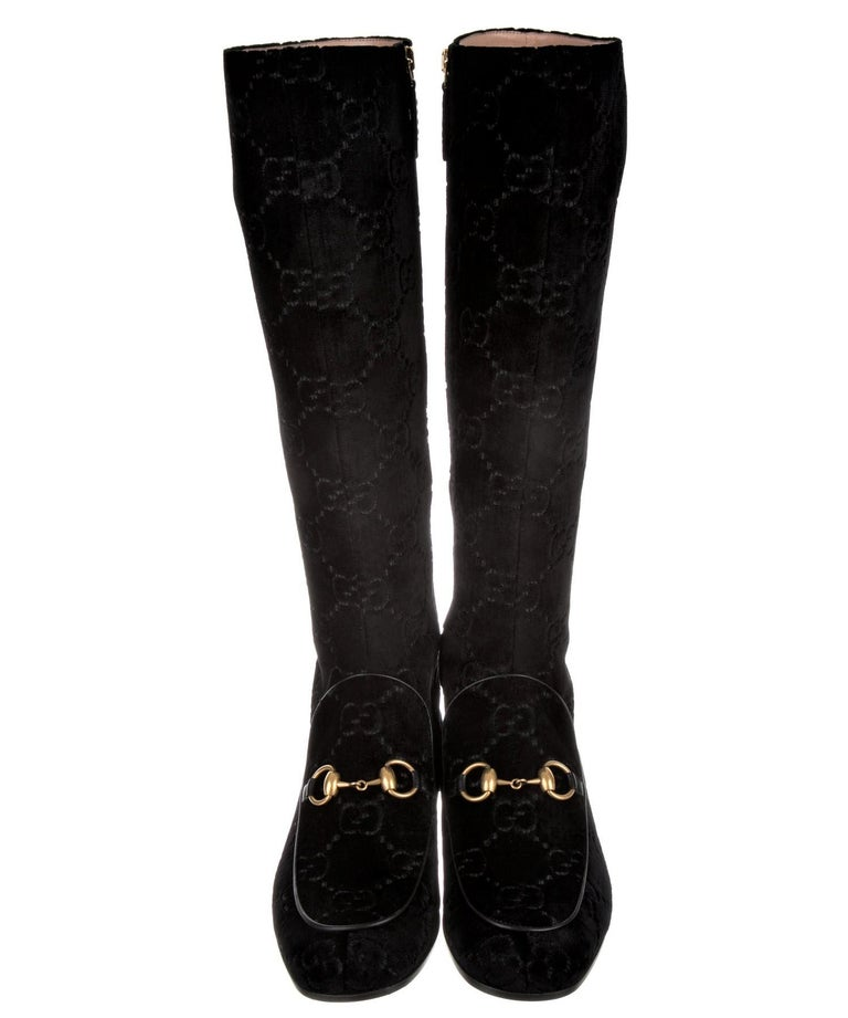 Black New Gucci GG Velvet Crystal Boots With Box Sz 39.5 For Sale