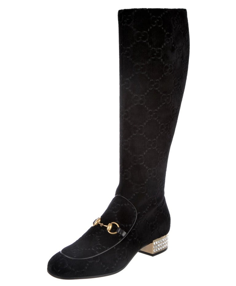 Women's New Gucci GG Velvet Crystal Boots With Box Sz 39.5 For Sale