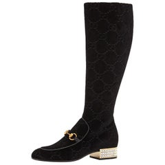 New Gucci GG Velvet Crystal Boots With Box Sz 40.5