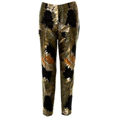 New Gucci Gold & Black Jacquard Pants F/W 2013 Sz 42