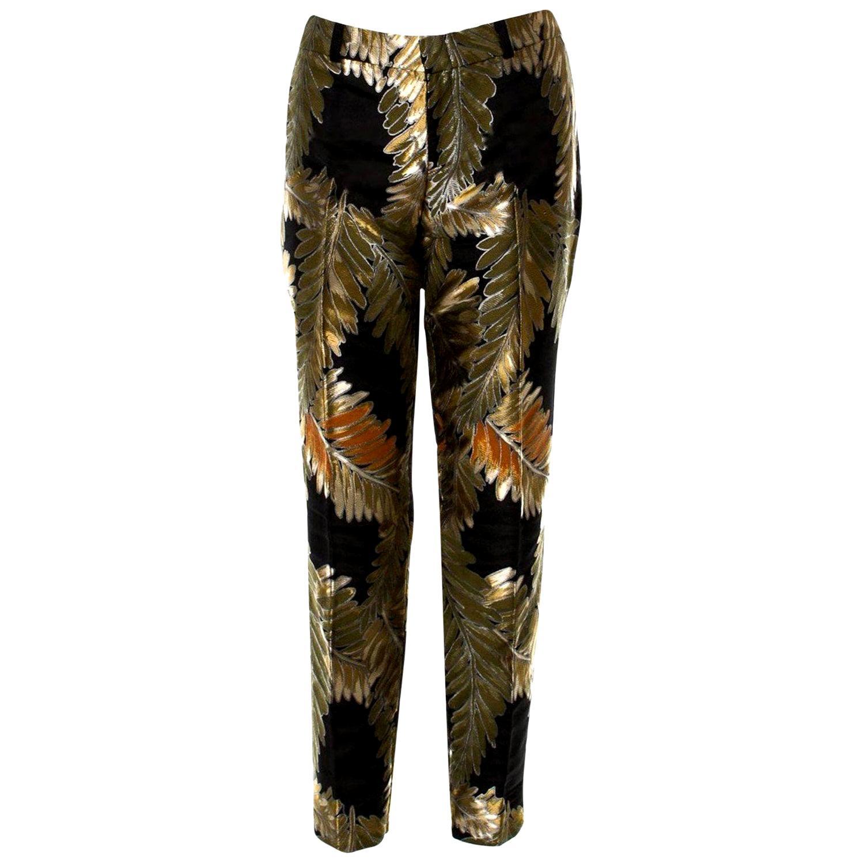New Gucci Gold & Black Jacquard Pants F/W 2013 Sz 42