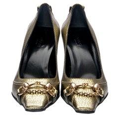 New Gucci Gold Horsebit Pumps Runway Heels Sz 36.5