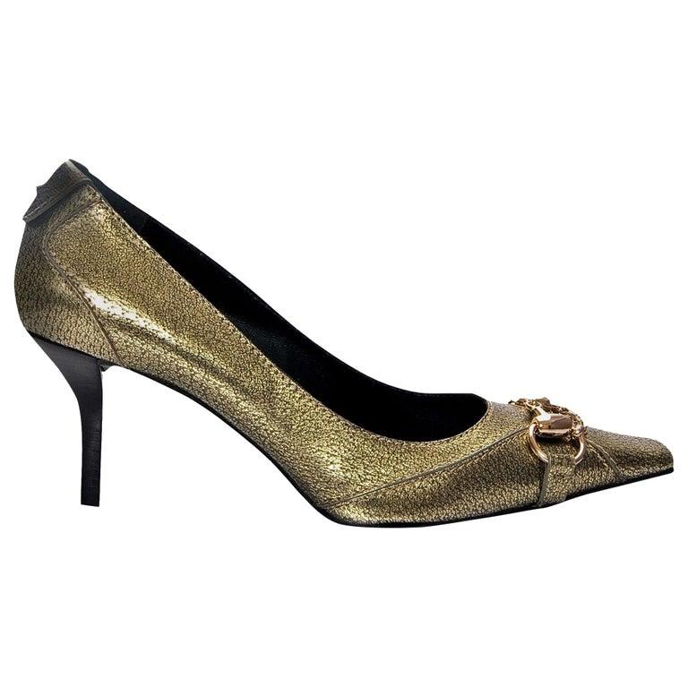 New Gucci Gold Horsebit Pumps Runway Heels Sz 37 For Sale