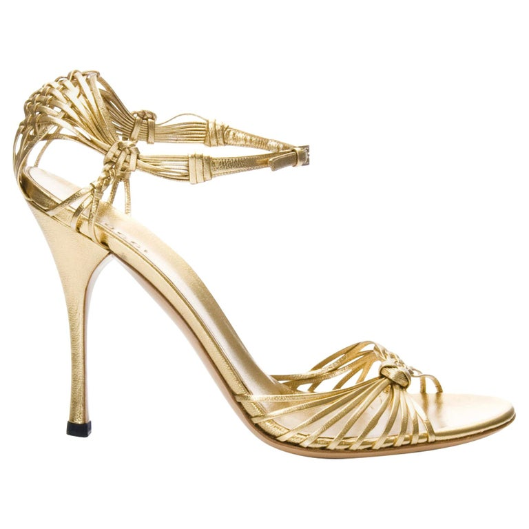 Rare Gucci Brand New * Stunning Gold Heels * Euro: 40  * Strappy Woven Leather * Gucci Adjustable Buckle * Gold Footbed & Lining *Super Soft and Comfortable * 5