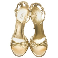 New Gucci Gold Leather Ad Runway Heel Sz Euro 40