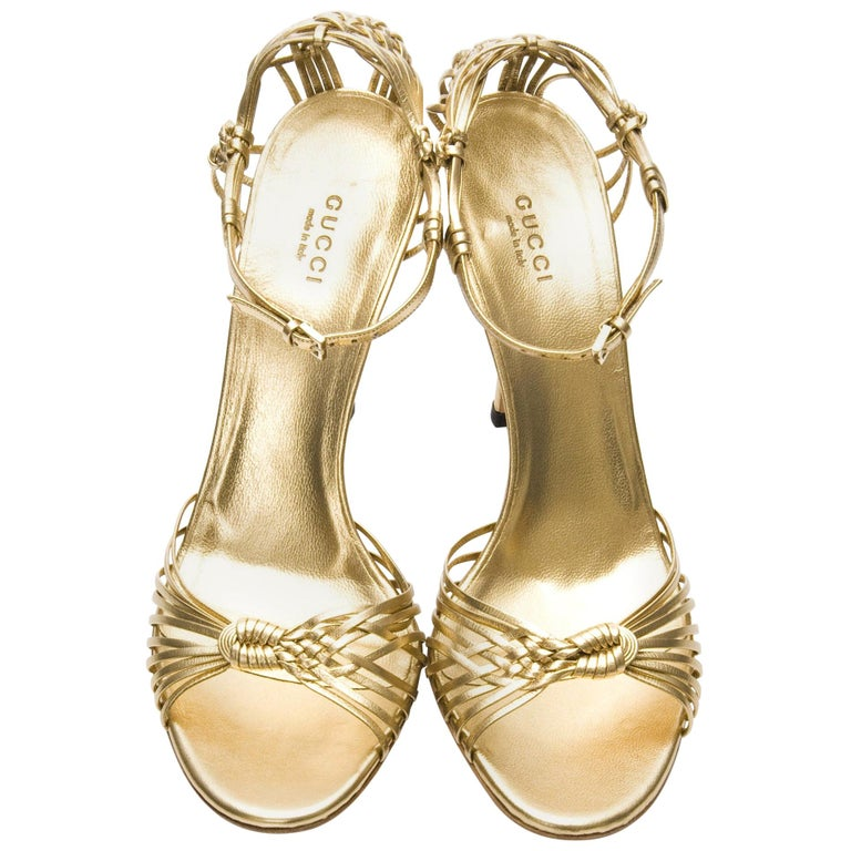 New Gucci Gold Leather Ad Runway Heel Sz Euro 40 For Sale