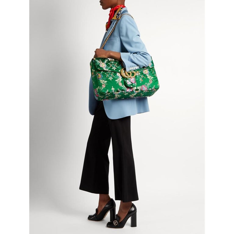 New GUCCI Green Marmont GG Oversized Maxi Floral Jacquard Shoulder Bag In New Condition For Sale In Brossard, QC