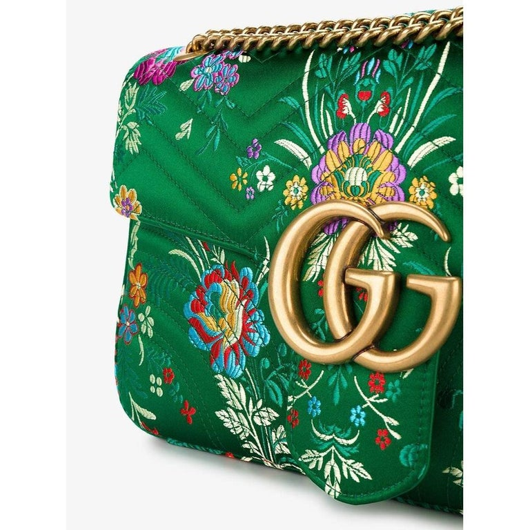 Women's New GUCCI Green Marmont GG Oversized Maxi Floral Jacquard Shoulder Bag For Sale