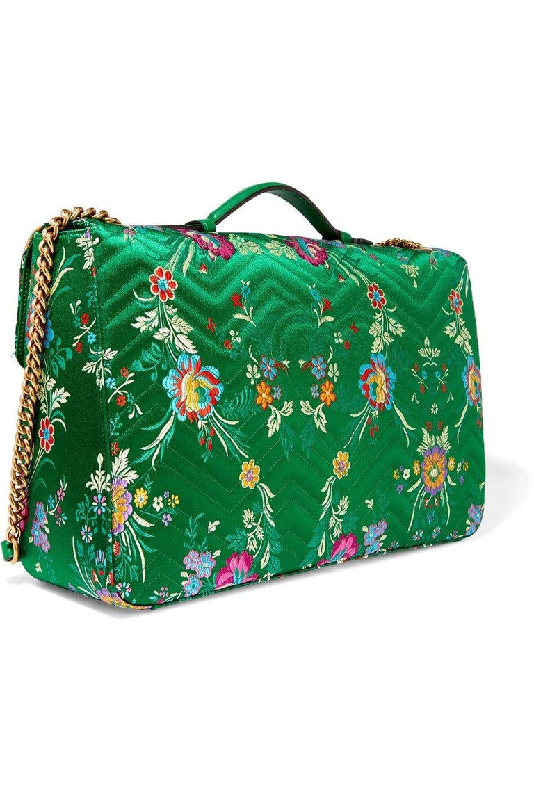 New GUCCI Green Marmont GG Oversized Maxi Floral Jacquard Shoulder Bag For Sale 1