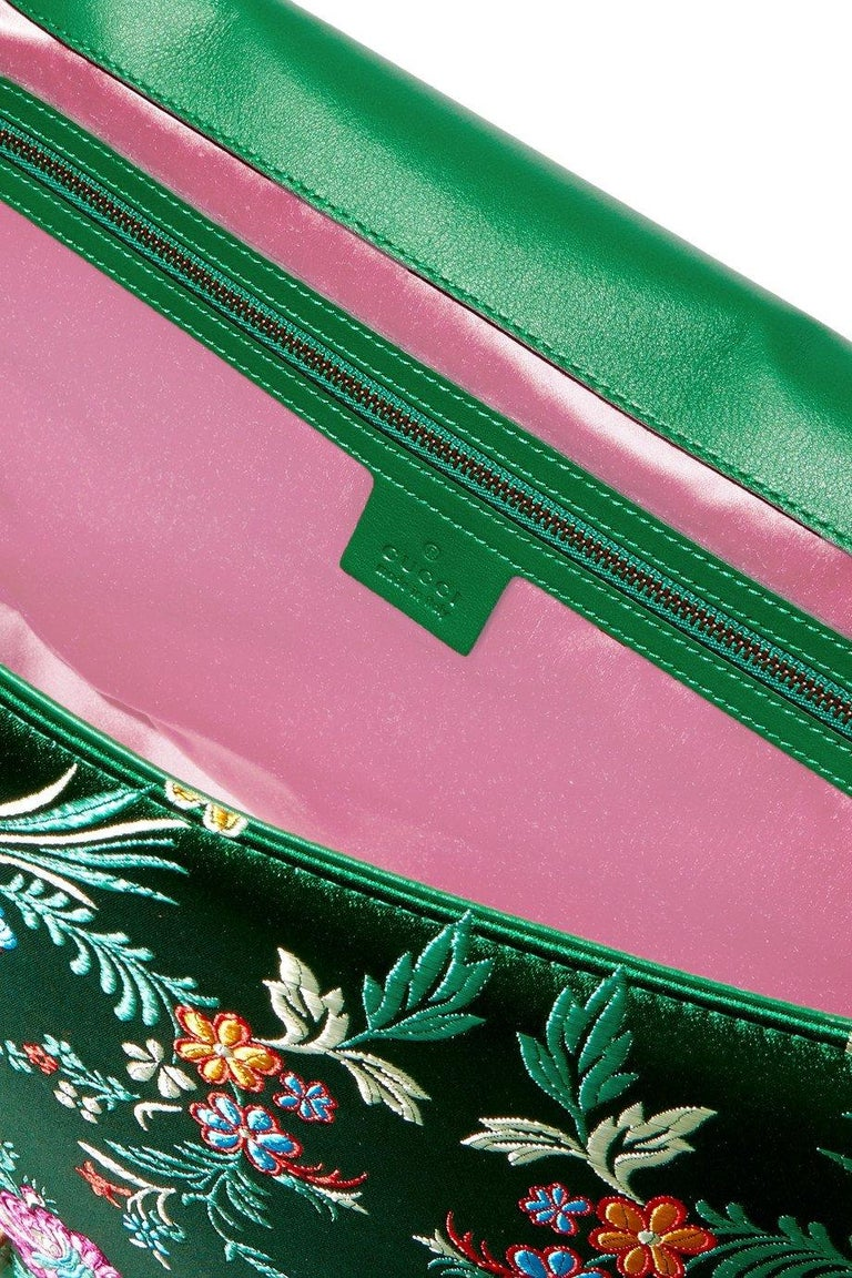 New GUCCI Green Marmont GG Oversized Maxi Floral Jacquard Shoulder Bag For Sale 2
