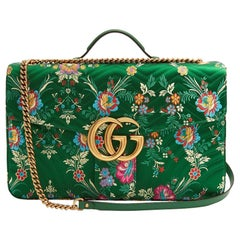 6c0926fcac76 New GUCCI Green Marmont GG Oversized Maxi Floral Jacquard Shoulder Bag